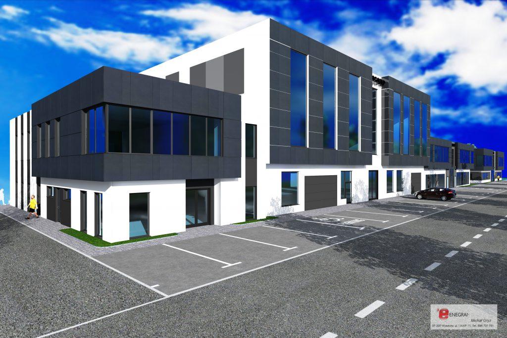 33 projekt budynku z parkingiem