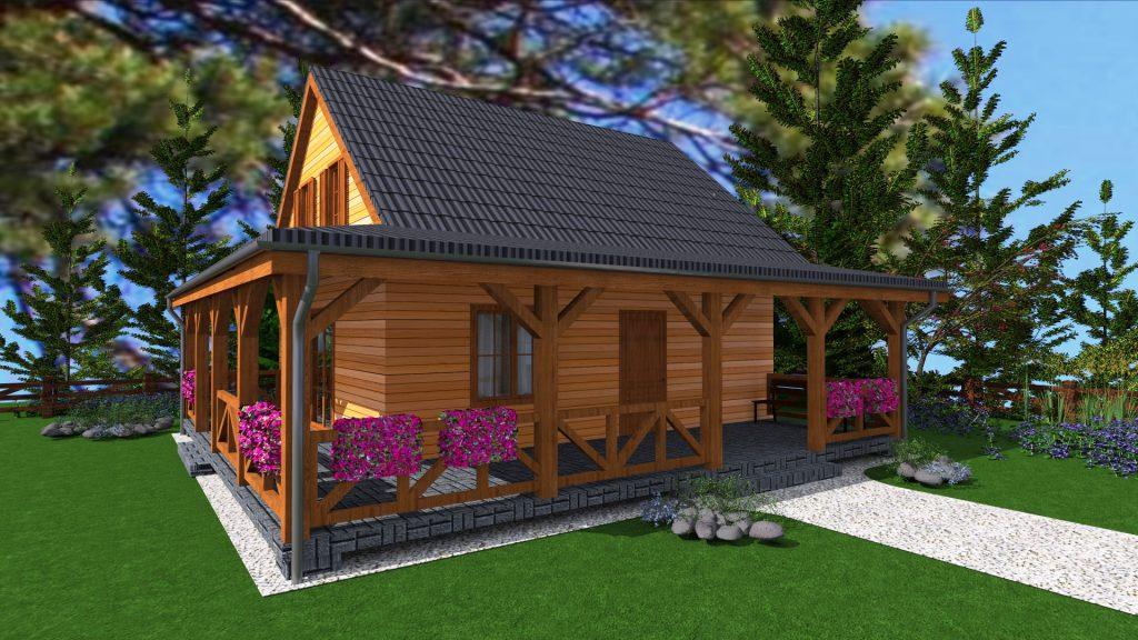 5 dom drewniany caloroczny projekt