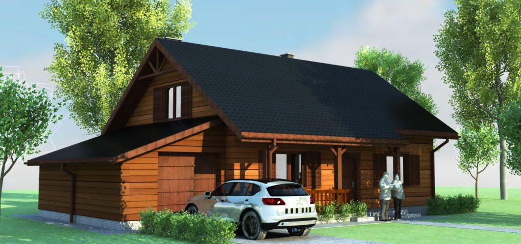 5 projekt domu jednorodzinnego z bali