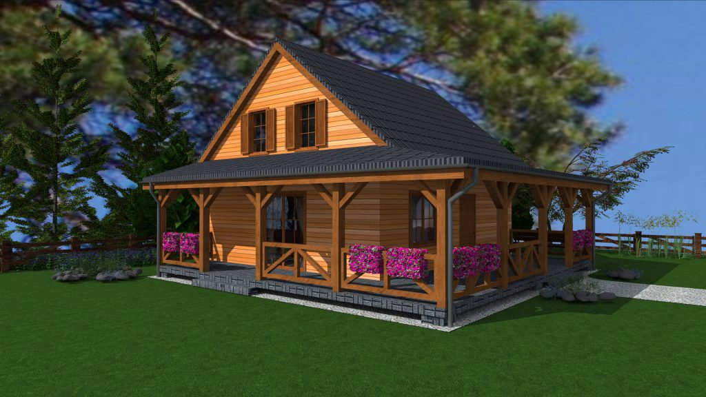 6 projekt domu drewnianego